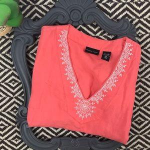 Linen Shirt Coral Orange Tunic Medium Summer Top